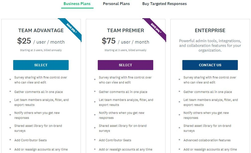 Pricing page for Business Plans