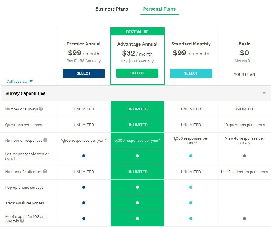 Pricing page for Personal plans