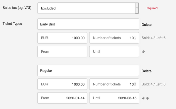 Sortable tickets, optional start and end dates